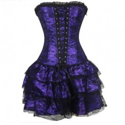 Plus Size Green Red Purple Corset Dress Gothic Bustier Dress