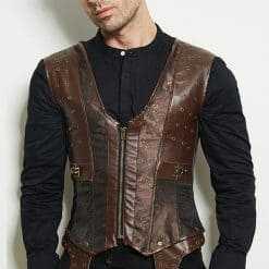 Men Dark Brown Retro Jacket V Neck Corset