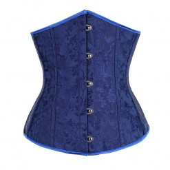 Blue Vintage Embroided Underbust Corset