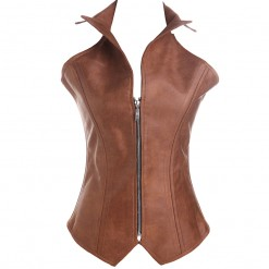 Brown Steampunk Zip Up Vest Corset