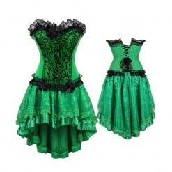 Cosplay Women Emerald Green Corset Dress